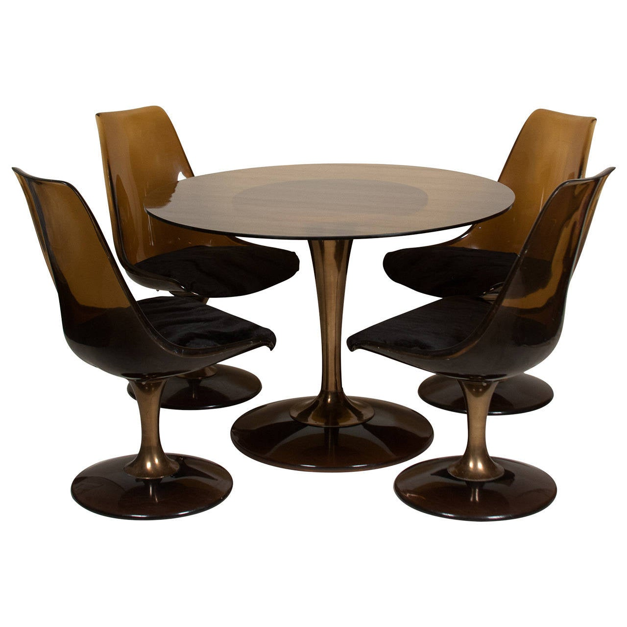 Glass Chair Amber Glass Top Tulip Dining Table And Chairs For Sale At