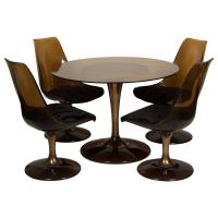 Amber Glass-Top Tulip Dining Table and Chairs For Sale at ...
