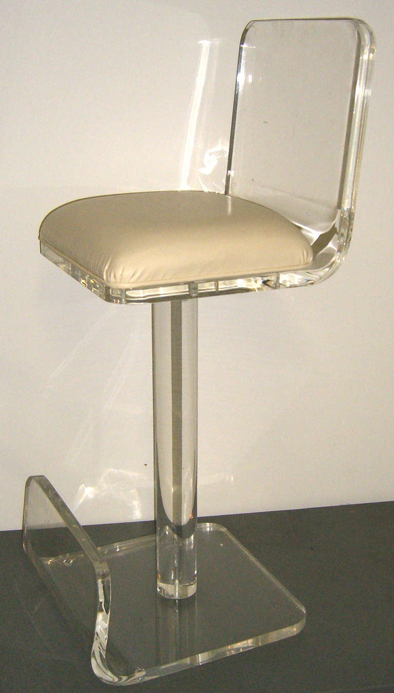 A Set of 4 Ultra Cool Lucite Bar Stools at 1stdibs