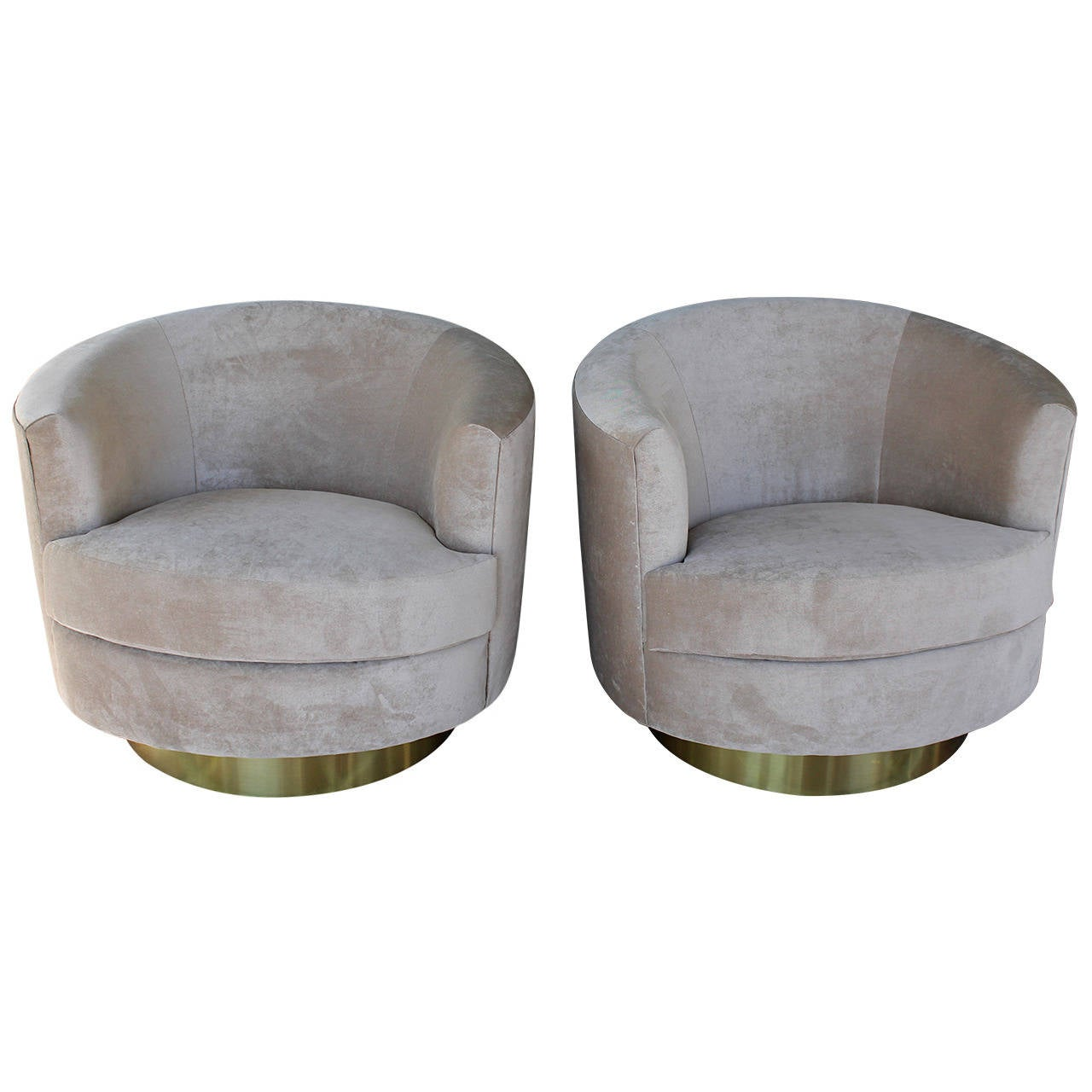 Barrel Chair Swivel Pair Of Barrel Swivel Chairs In The Style Of Milo Baughman