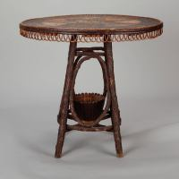 French Round Bent Willow Twig Table With Star Design Inlay ...