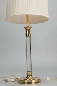 Pair Tall Mid Century Lucite and Brass Table Lamps at 1stdibs