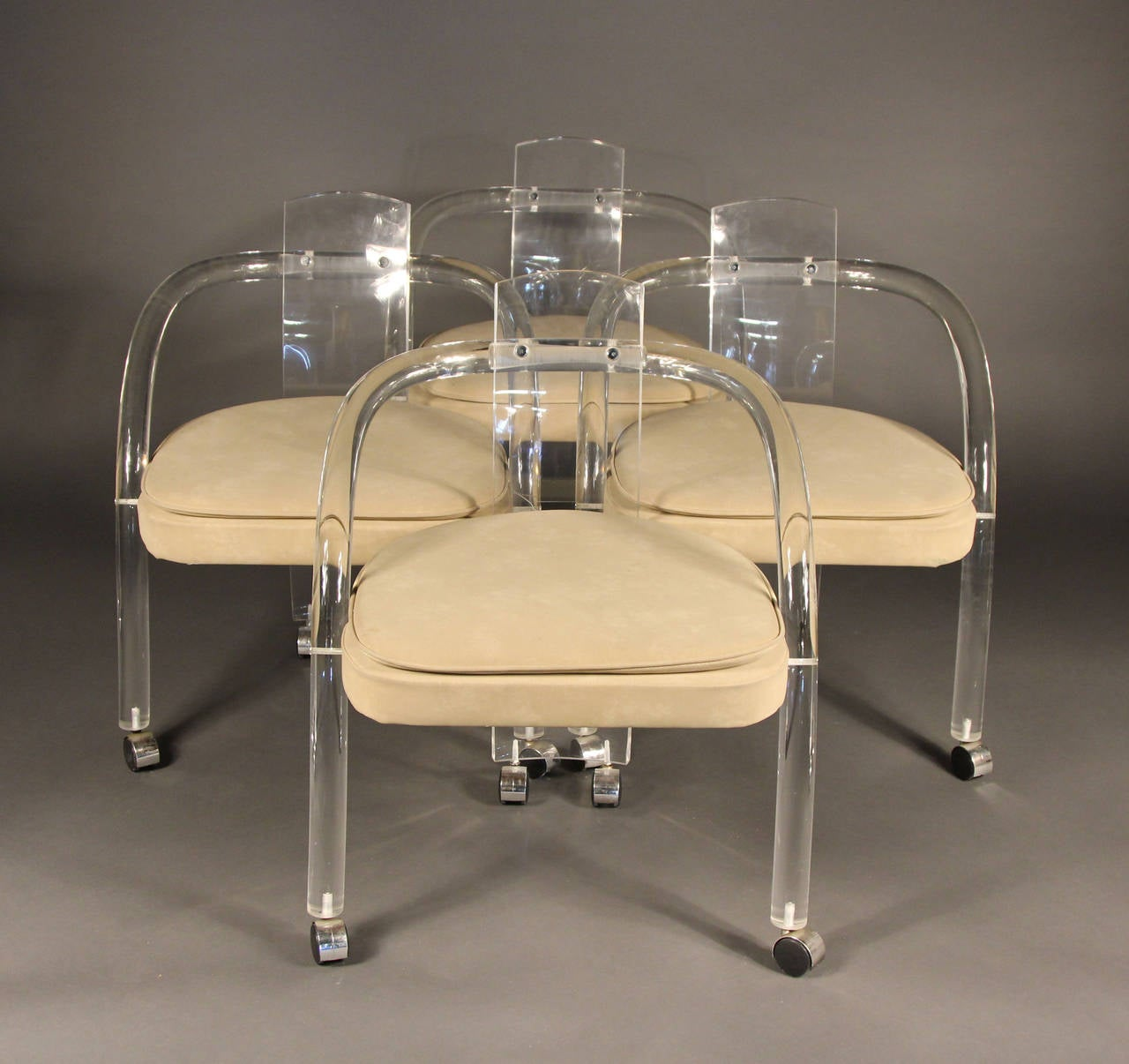 acrylic dining chair roll arm slipcovers set of four charles hollis jones style lucite