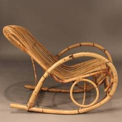 Mid Century Modern Rocking Chair Reclining Arm Franco Albini Style Rattan For