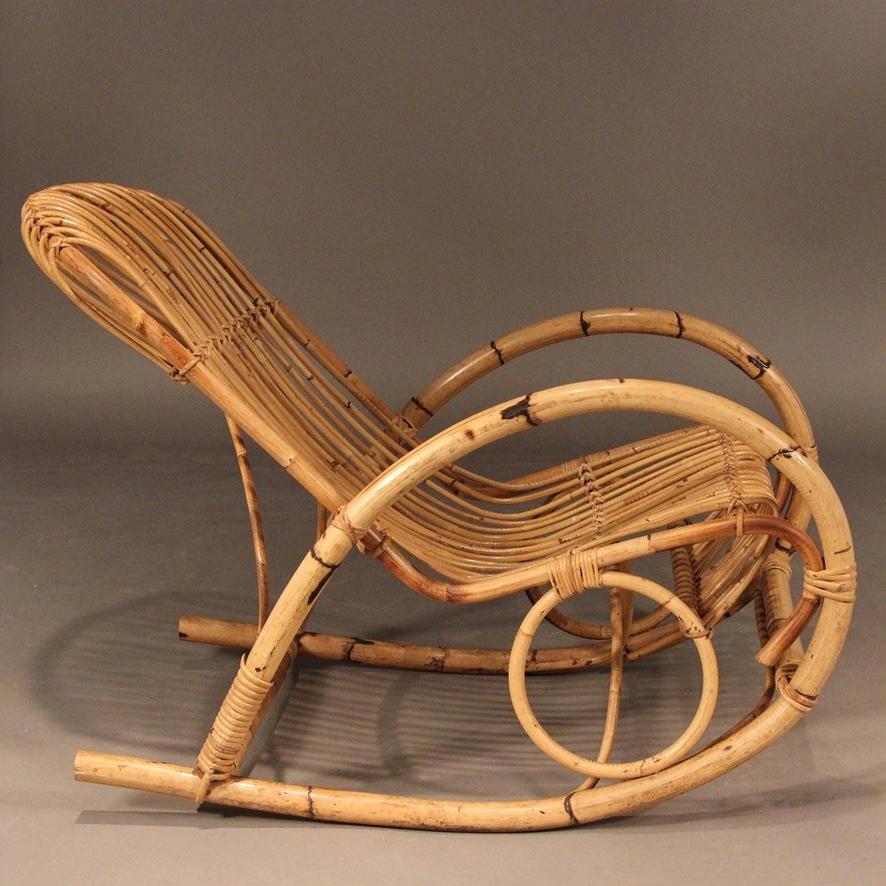 Wicker Rocker Chair Franco Albini Style Mid Century Rattan Rocking Chair For