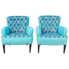 Turquoise Lounge Chair Asian Dining Chairs Pair Of Sala Draper Era For Sale At 1stdibs