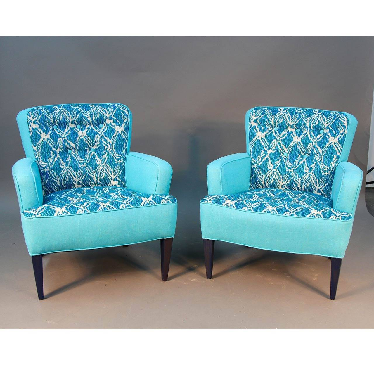 Turquoise Leather Chair Pair Of Turquoise Sala Chairs Draper Era For Sale At 1stdibs