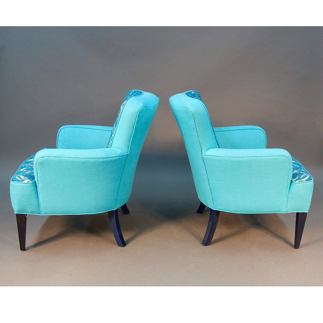 turquoise lounge chair fishing kayak pair of sala chairs draper era for sale at 1stdibs
