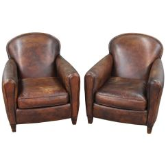 Art Deco Club Chairs Leather Steelcase Vintage Chair Pair Of Style At 1stdibs
