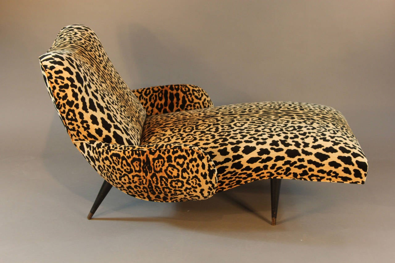 reclining chairs modern hot pink velvet office chair mid-century leopard print chaise longue at 1stdibs