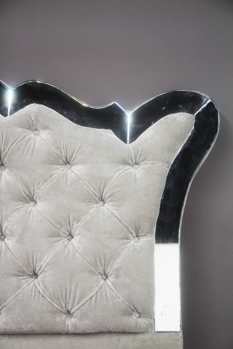 Mirrored Vintage Tufted Headboard at 1stdibs