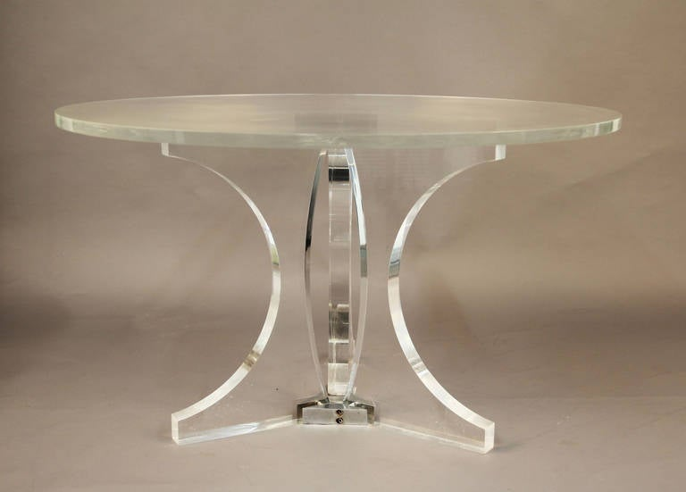 Very Thick Lucite Round Dining Table With Lucite Top And
