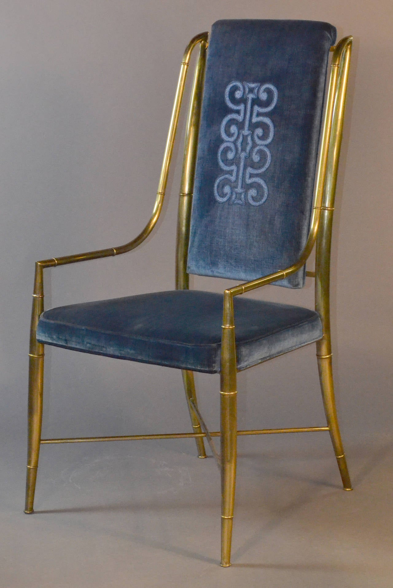 Blue Velvet Chair Mastercraft Brass Faux Bamboo Set Of Eight Dining Chairs