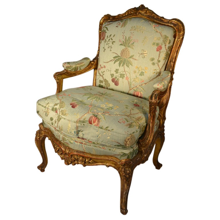 Single Louis Xv Style Gilt Frame Arm Antique Chair At 1stdibs
