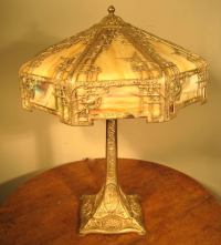Silver Plated Slag Glass Table Lamp at 1stdibs