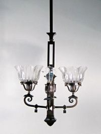 Mission Style Gas Electric Fixture For Sale at 1stdibs
