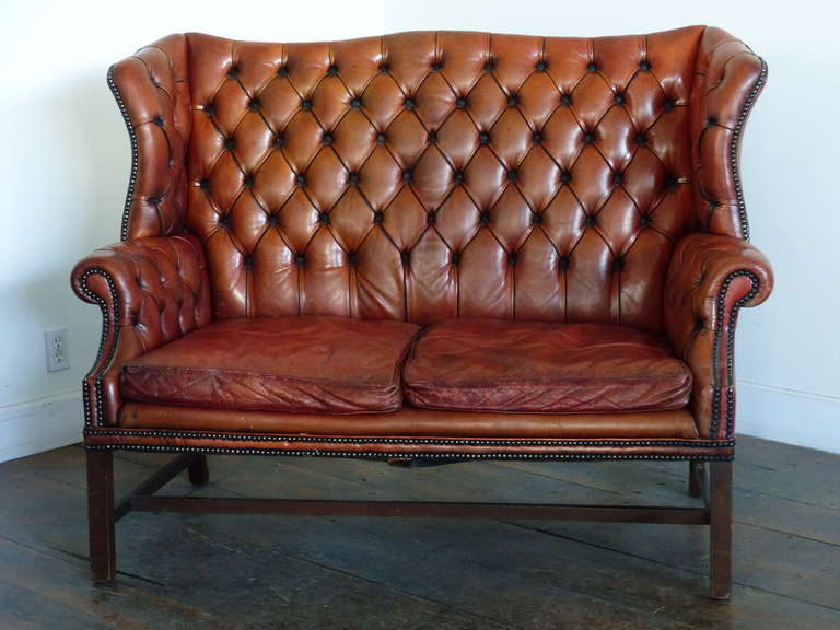 black leather wingback chair metal patio chairs target 1930 tufted wing back style sofa at 1stdibs