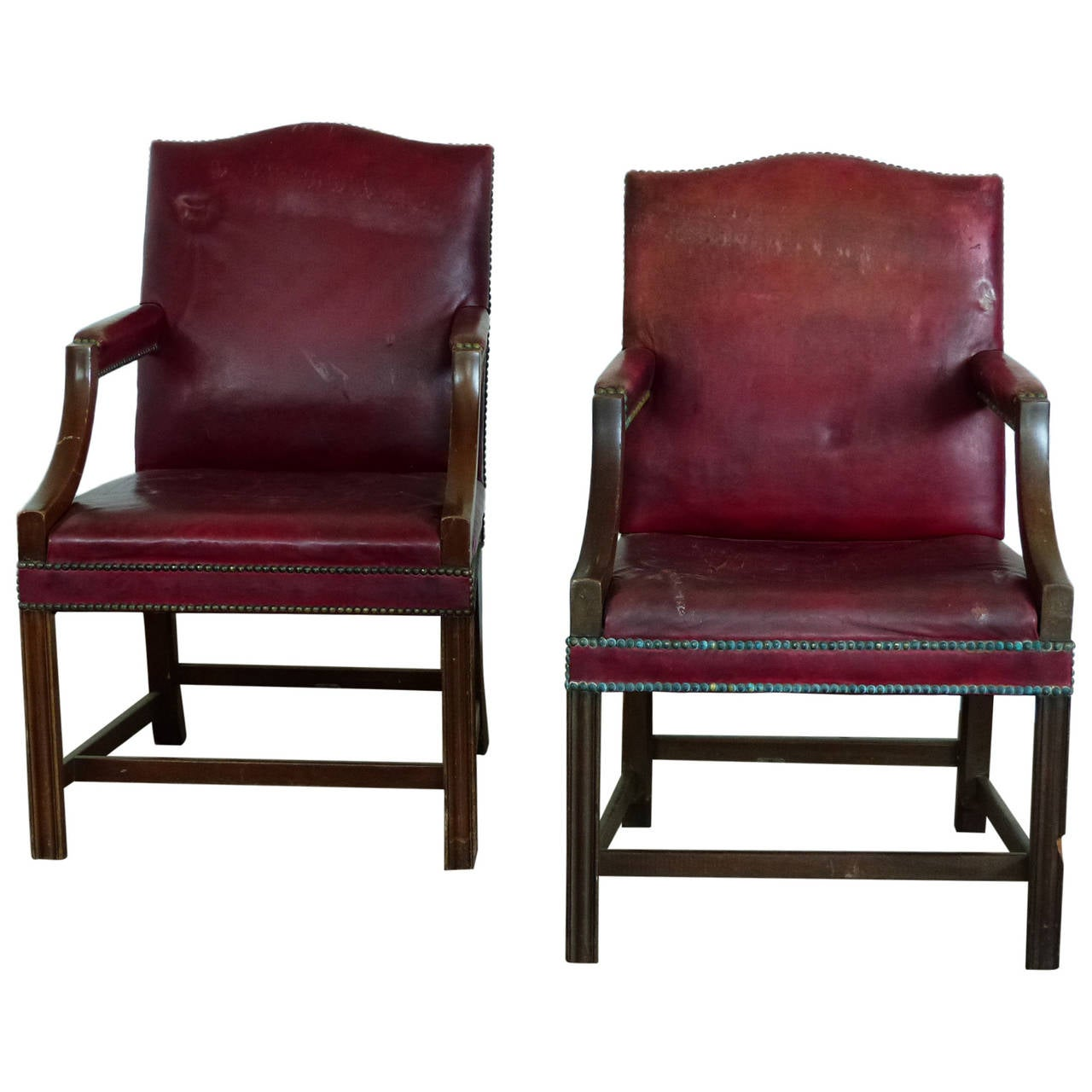 Bankers Chairs Pair Of Leather Lounge Chairs Or Bankers Chairs At 1stdibs