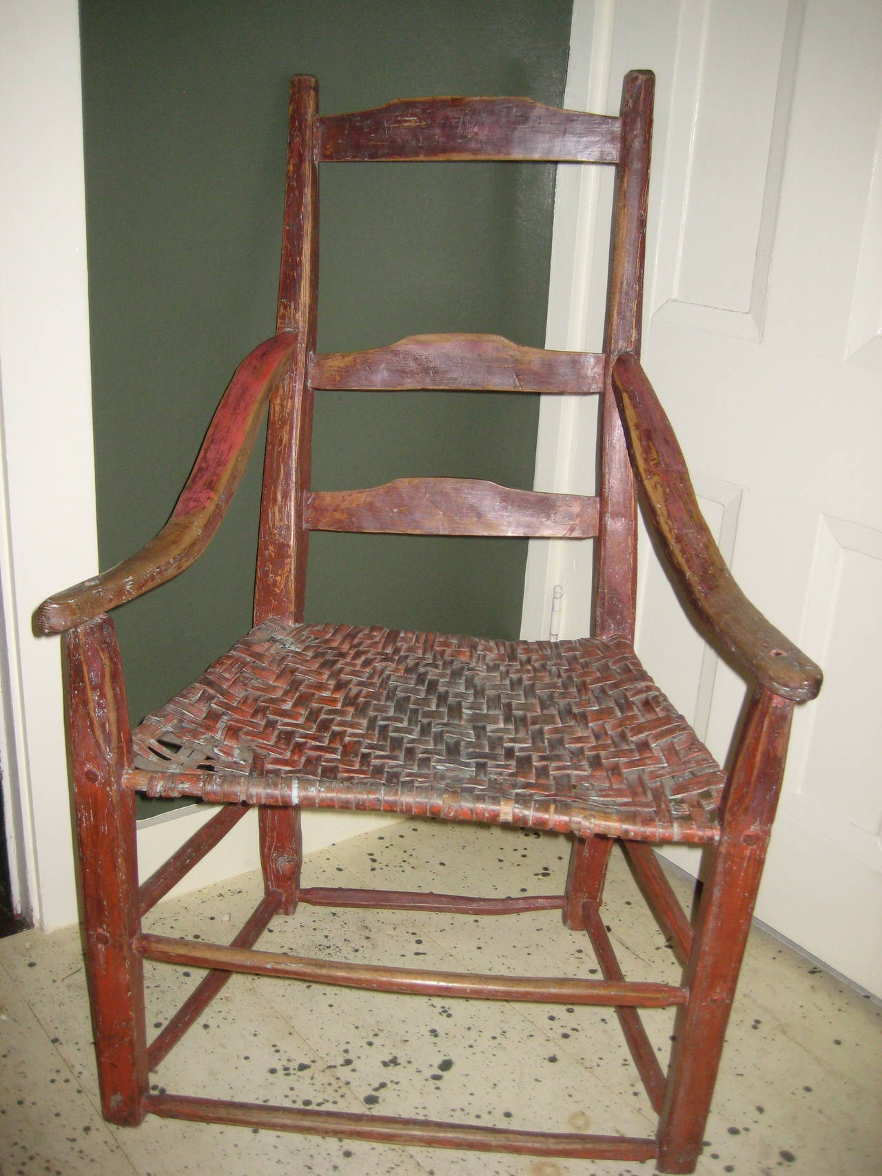red dining room chairs canada glider rocking chair with ottoman ladderback for sale at 1stdibs