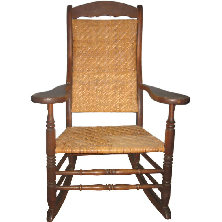 antique rocking chair leather seat wedding covers hire cambridgeshire large american with new caning. for sale at 1stdibs