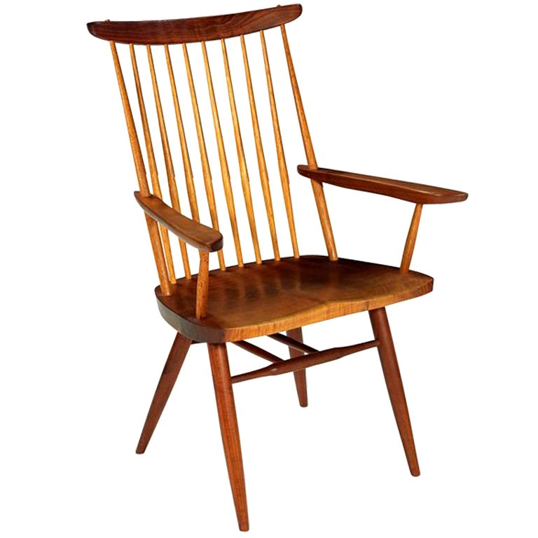 Studio Crafted Walnut New Arm Chair by George Nakashima