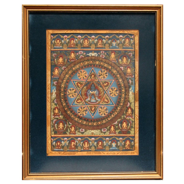 A framed Tibetan Buddhist Thangka Mandala at 1stdibs
