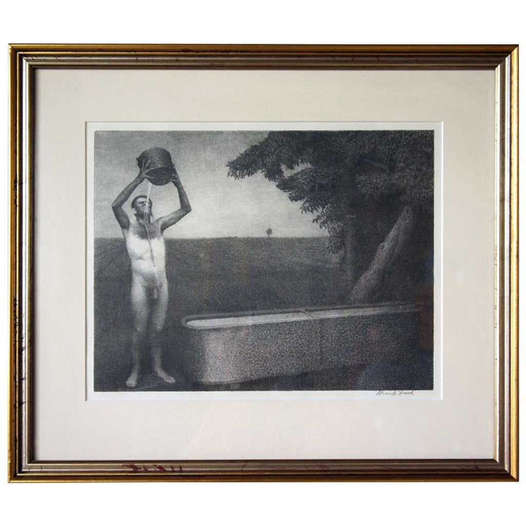 Grant Wood Lithograph Sultry Night At 1stdibs