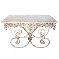 Antique Pastry Table with Ornamented Cast Iron Base and ...