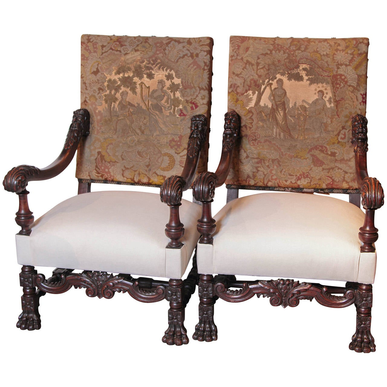 feet for chairs chair stand up fitness test pair of antique louis xiv style walnut wood armchairs with