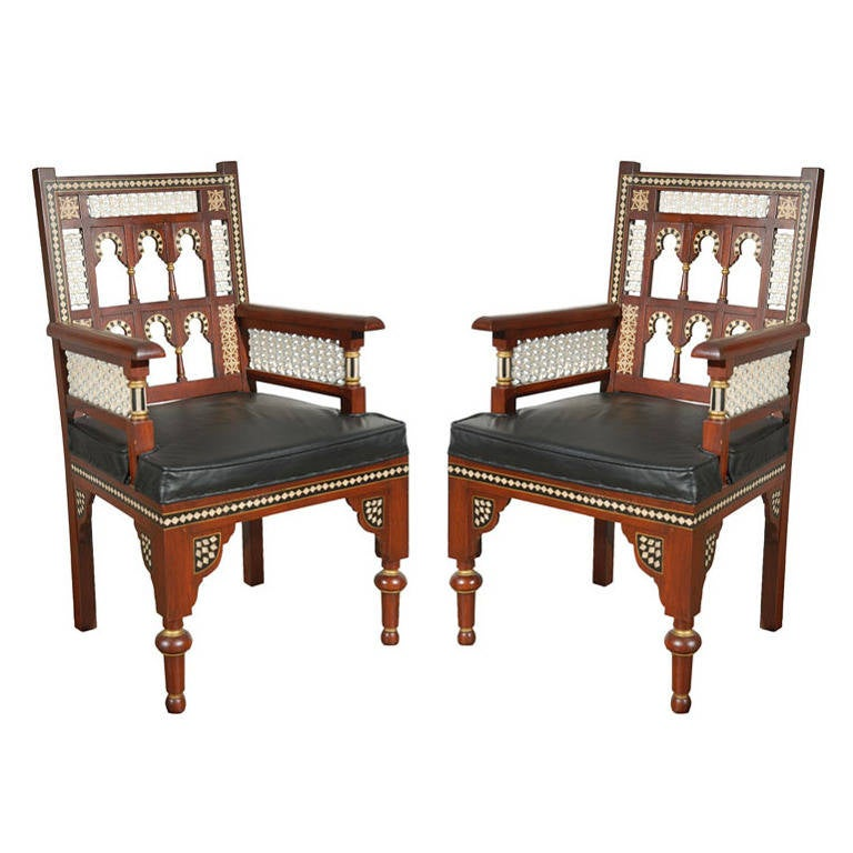 Pair of Moroccan Moorish Armchairs For Sale at 1stdibs