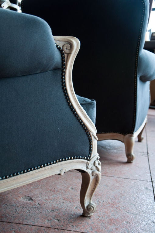 Pair Antique French Reupholstered Bergre Chairs at 1stdibs
