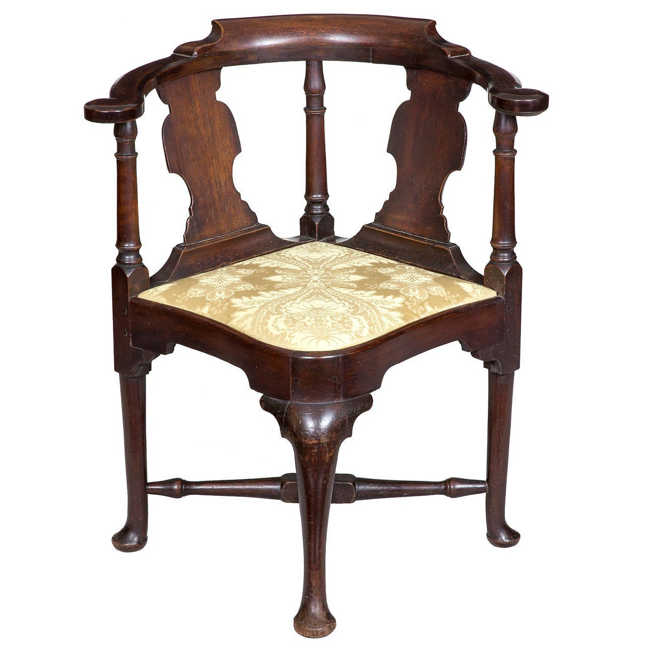 antique queen anne chair swing pakistan mahogany corner with horseshoe seat