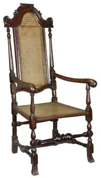 Caned Beechwood William and Mary Armchair with Scrolled ...