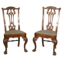Pair of Carved Chippendale Ball and Claw Feet Side Chairs