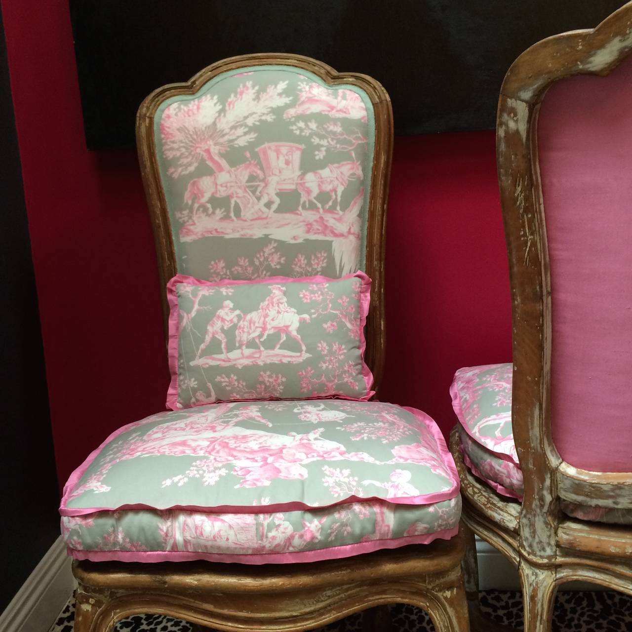 Toile Chair Pair Of French Chairs In Manuel Canovos Toile For Sale At