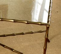 Brass and Glass Bamboo Coffee Table in the style of Jansen