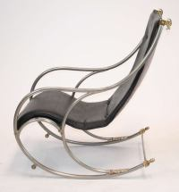 Jansen Style Steel and Brass Campaign Rocking Chair For ...