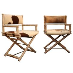 Bamboo Directors Chairs Office Chair For Carpet Pair Of Faux And Brass Sale At 1stdibs