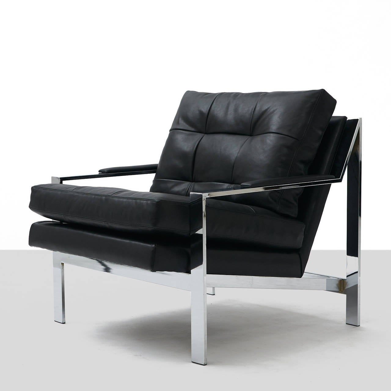 leather and chrome chairs human touch massage chair pair of black lounge at 1stdibs
