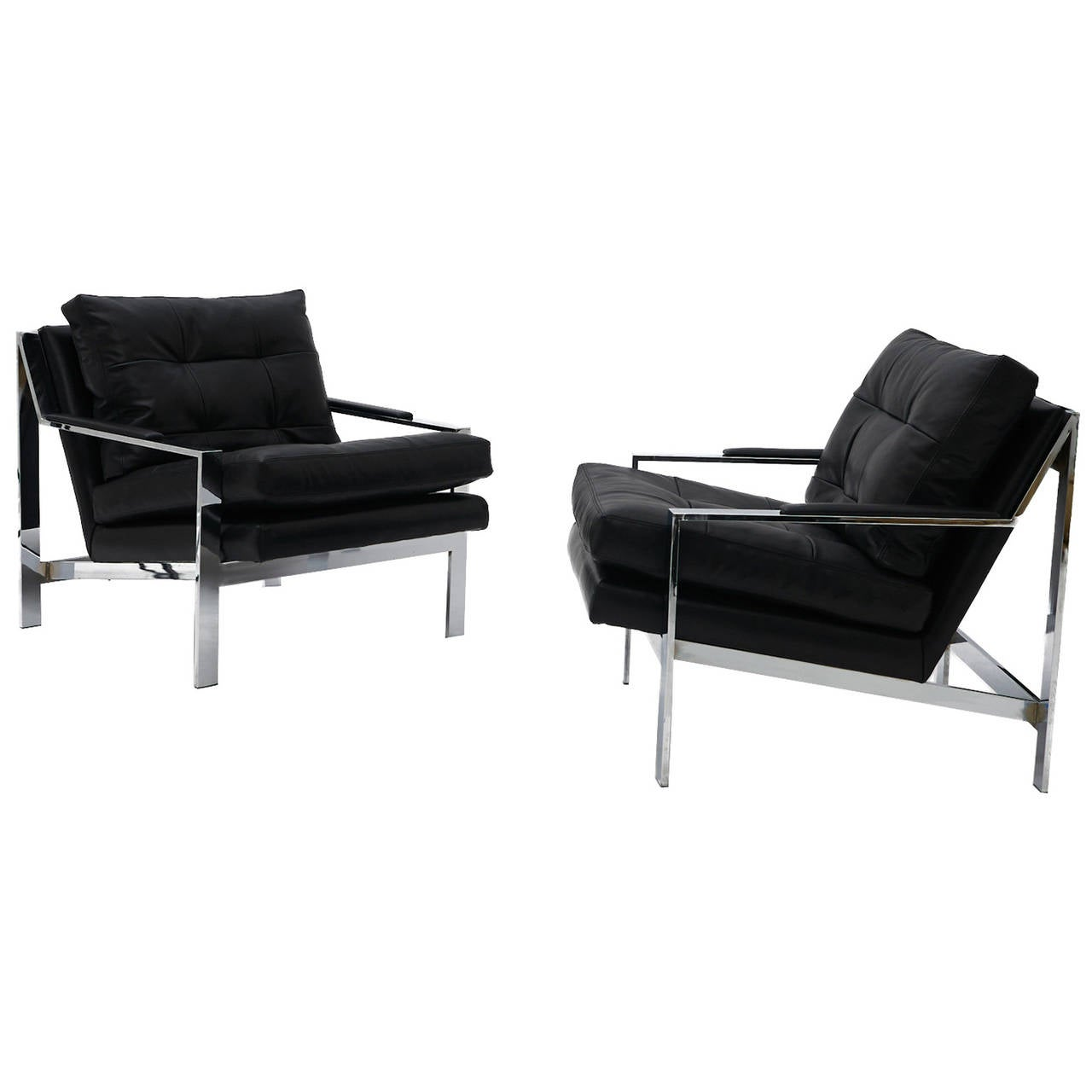 leather and chrome chairs ultra light folding chair pair of black lounge at 1stdibs