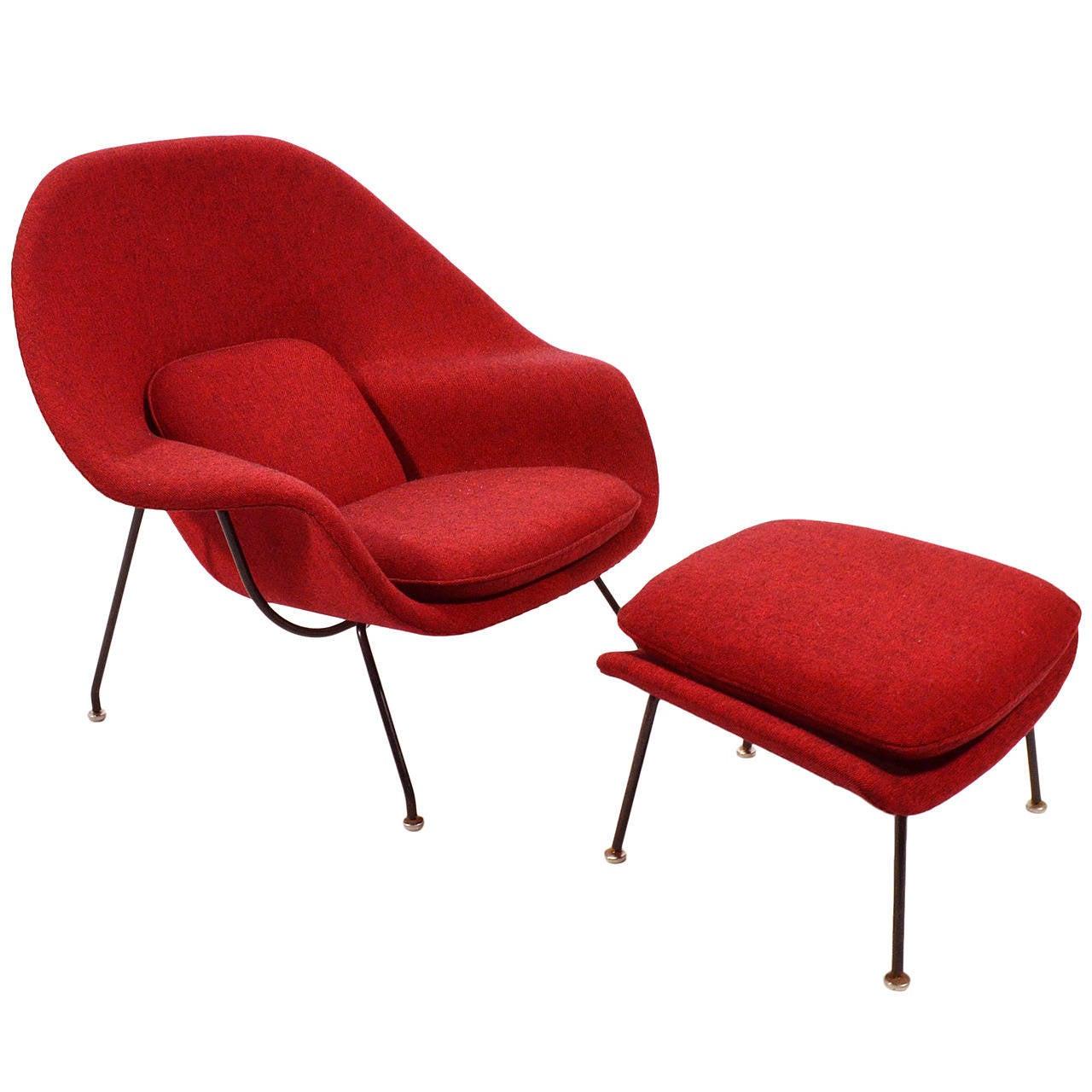 knoll saarinen chair purple lounge bedroom eero womb and ottoman upholstered in