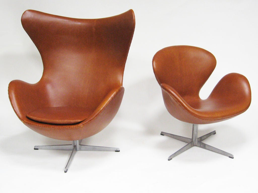 jacobsen egg chair leather cover rentals oshawa arne in cognac by fritz hansen