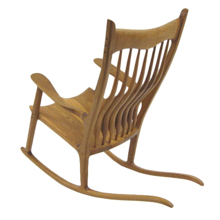 white rocking chairs for sale picnic time reclining camp chair sam maloof style in oak at 1stdibs