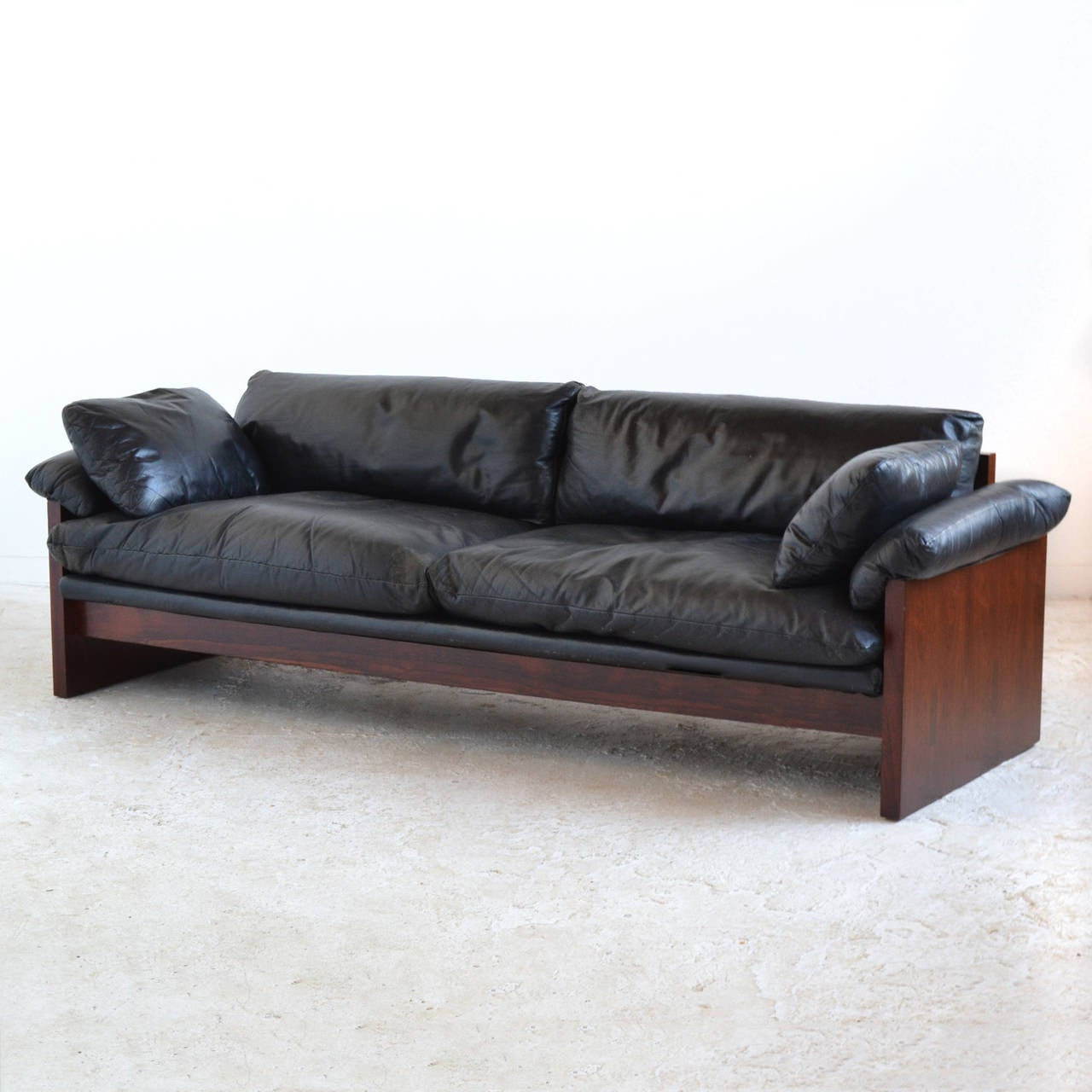 down filled leather sectional sofa la z boy reclining reviews rosewood with cushions at 1stdibs