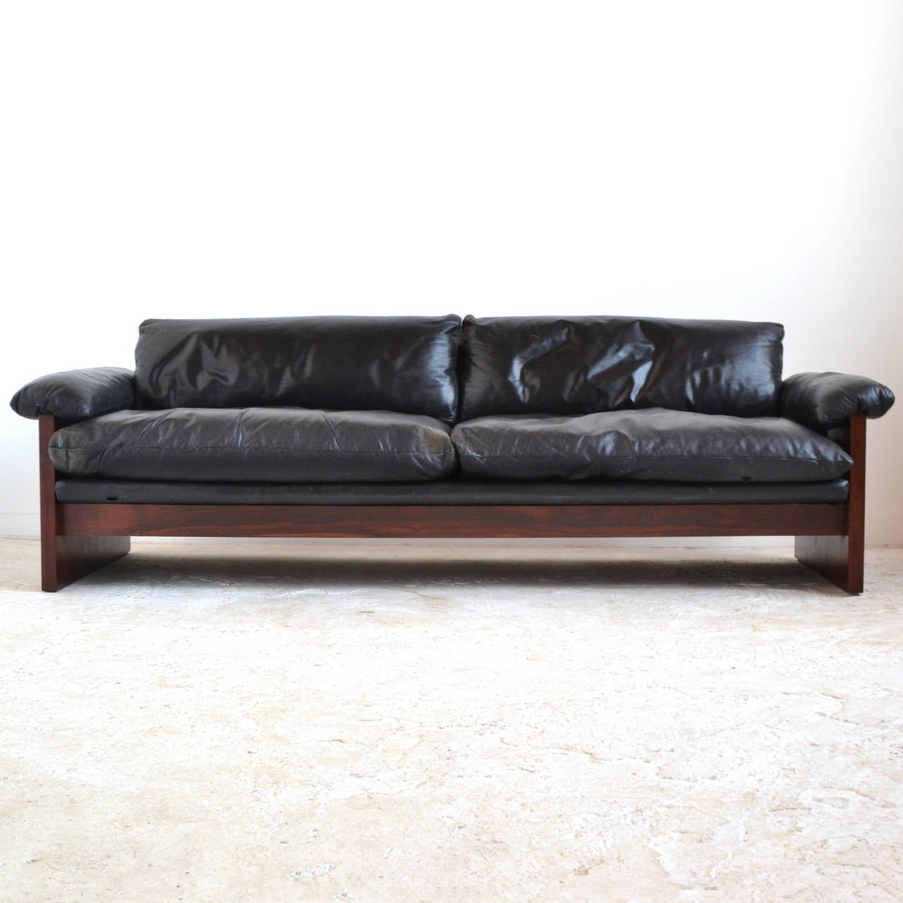 down filled leather sectional sofa sofas cama cruces ofertas rosewood with cushions at 1stdibs