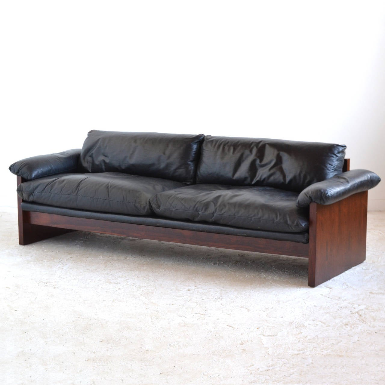 down filled leather sectional sofa jackknife replacement rosewood with cushions at 1stdibs