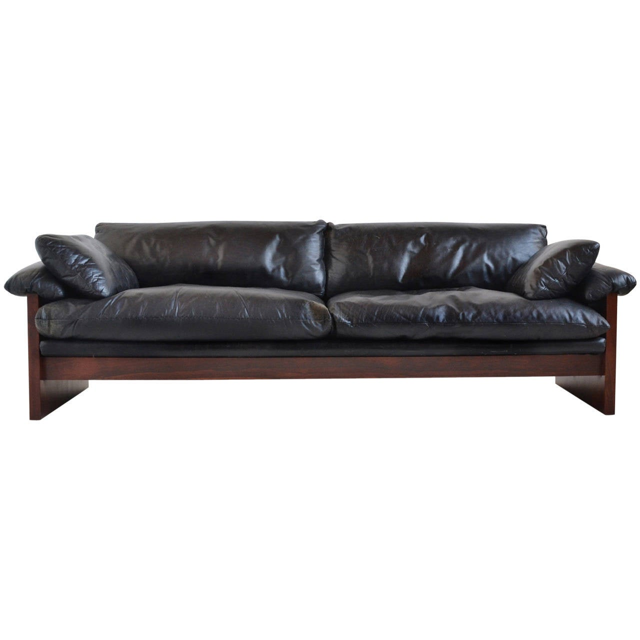down filled leather sectional sofa dfs sofas belfast rosewood with cushions at 1stdibs