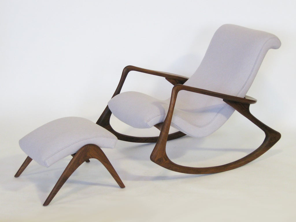 vladimir kagan rocking chair rubber casters contour and ottoman by at 1stdibs
