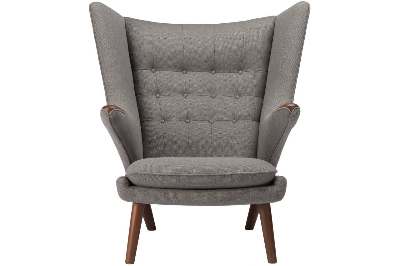 papa bear chair antique wrought iron chairs pair of hans wegner with ottomans at 1stdibs