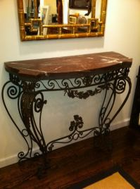 1930s Wrought Iron Console Table For Sale at 1stdibs